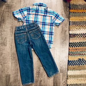 Osh Gosh Jeans & Jumping Beans Button Down 5 T